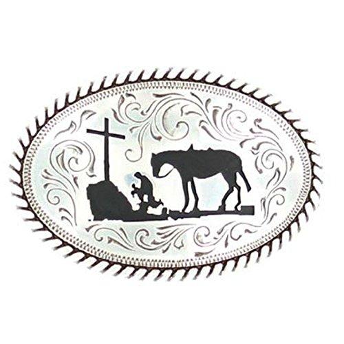 M F Western Products Boys Kid s MF Cowboy Prayer Buckle Silver
