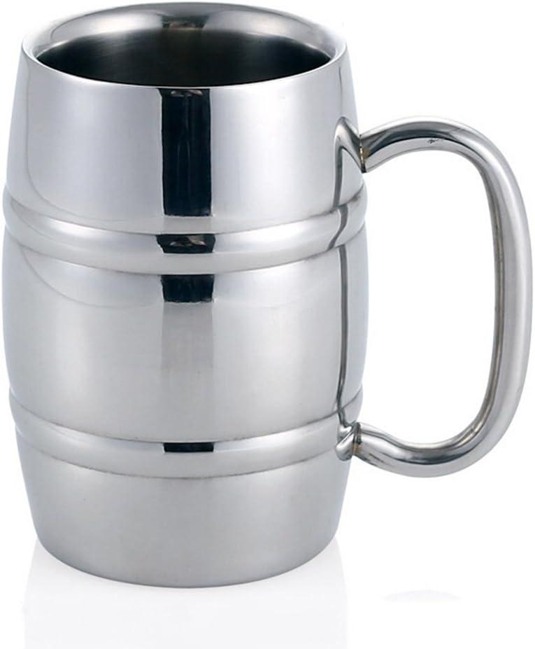 Jarra de cerveza, taza de té / cerveza / café / café con leche de acero inoxidable Isenretail, diseño de doble pared con gran capacidad de 550 ml