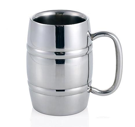 Isenretail Jarra de Cerveza, Acero Inoxidable Taza de té/Cerveza/café/latté/la Leche, Diseño de Doble Pared con 400 ML de Gran Capacidad