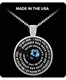 Soccer Pendant for Son - English Football Silver Necklace - From Mom & Dad