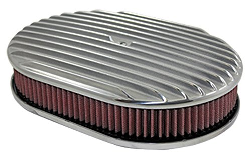 12″ Full Finned Polished Aluminum Oval Air Cleaner w/ Washable Filter Chevy Ford V8