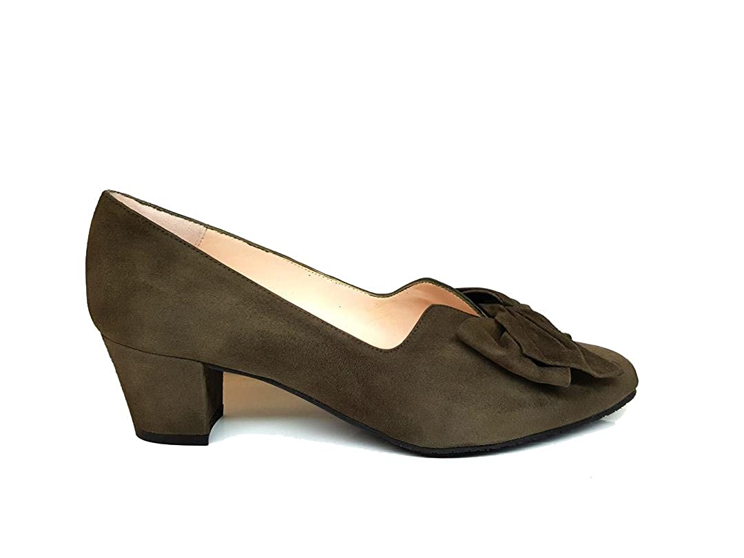 GENNIA Karma Women Closed Toe Leather Pumps with Bow and Block Heel
