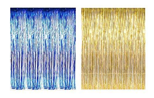 Lobyn Value Packs Blue Gold Foil Fringe Door & Window Curtain Party Decoration 3' X 8' (36