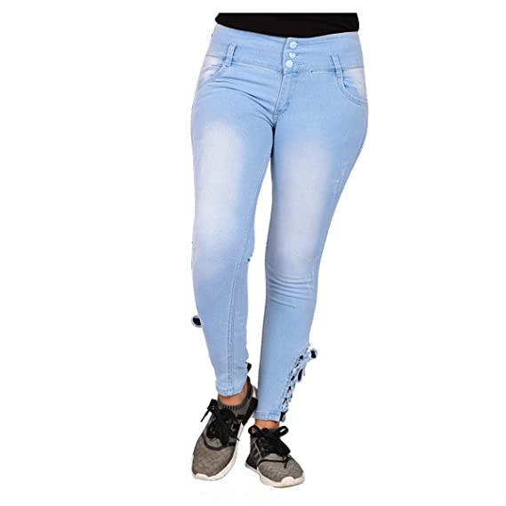 Buy Girls First high Rise 3 Button Light Blue Jeans at Amazon.in