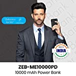 Zebronics Zeb-ME10000PD, Made in India 10000 mAh Power Bank, Type C Input, Dual USB Output (Black)