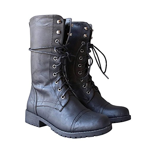 Womens Lace up Mid Calf Side Zipper Faux Leather Waterproof Military Combat Boots