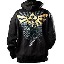 Zelda Black and Gold Crest Action Zip Up Hoodie