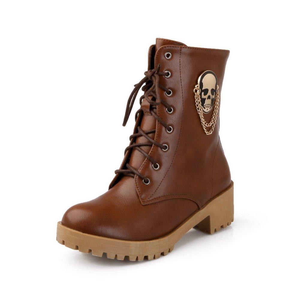 BalaMasa Girls Bandage Skull Heads Platform Brown Imitated Leather Boots - 6 B(M) US