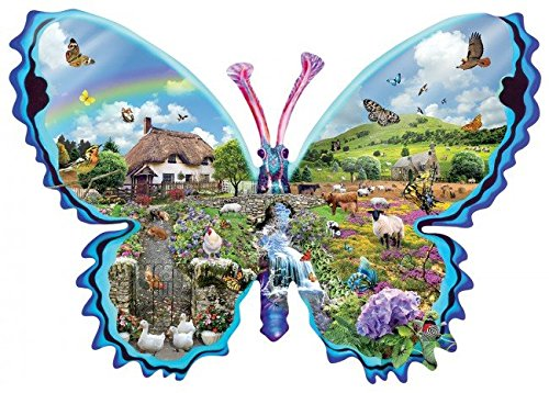 SunsOut English meadow butterfly shaped puzzle