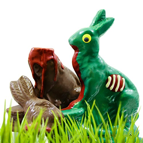 LIMITED EDITION Zombie Chocolate Bunny Rabbit & Victim Set- Easter Candy Zombie and Gourmet Chocolate Victim - by Sugar Plum -