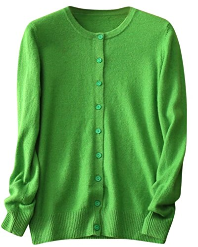 SANGTREE Women's Soft Lightweight Button Front Long Sleeve Crewneck Cashmere Cardigan Sweater, Green, Tag M = US S(4-6)