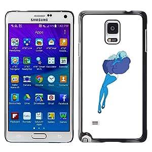 "For Samsung Galaxy Note 4 Case , Azul Art Pillow Nube Mujer Sexy Medias"" - Diseño Patrón Teléfono Caso Cubierta Case Bumper Duro Protección Case Cover Funda"