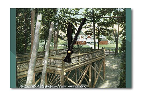 Portland, Maine - Riverton Park View of a Rustic Bridge and the Casino (Acrylic Wall Clock)