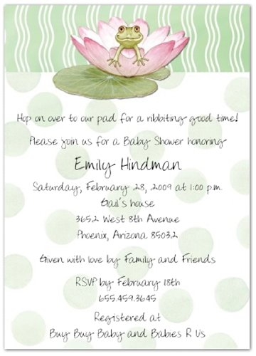 Amazon Lily Pad On Green Baby Shower Invitations Set Of 20