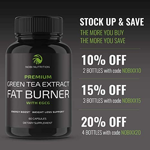 Nobi Nutrition Green Tea Fat Burner - Green Tea Extract Supplement with EGCG - Diet Pills, Appetite Suppressant, Metabolism & Thermogenesis Booster - Healthy Weight Loss for Women & Men 10