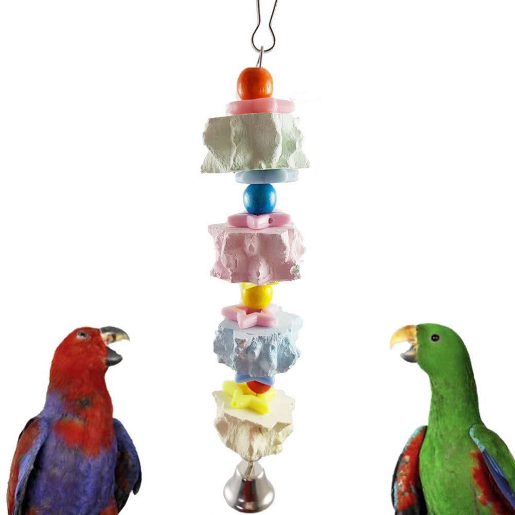 Hieefi 1PC Loros Molienda Juguete Mordedura con Bell Molienda Pico De Loro Shredder Juguete De Colgado De Accesorios Juguete Interactivo Bird