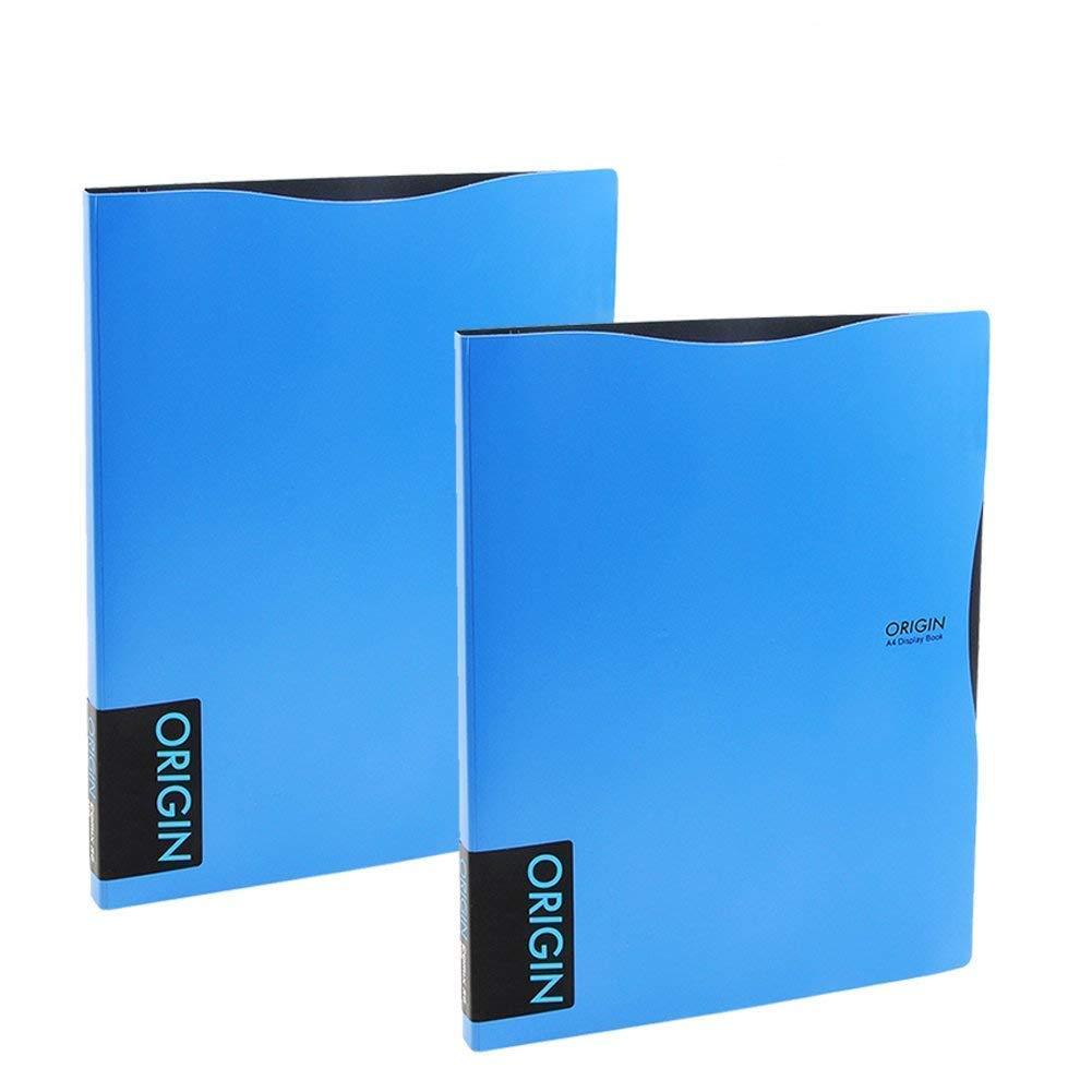 Binder Sheet Protector, Kakbpe Clear Non Glare Sheet Protector Portfolio Poly Organizer File Folder with 30 Transparent Pockets, Letter Size, A4 Blue …