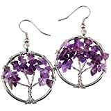 SUNYIK Purple Amethst Tree of Life Dangle Earrings for Women(Silver Color)