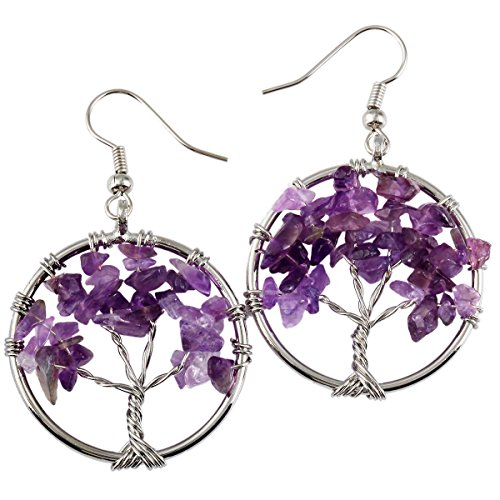 SUNYIK Purple Amethst Tree of Life Dangle Earrings
