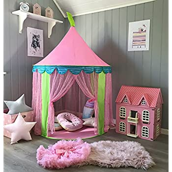 Children Play Tent for Girls Princess Castle Indoor u0026 Outdoor Use with Carry Case By Tiny Land & Amazon.com: Intency Pink Princess Castle Kids Play Tent Large ...
