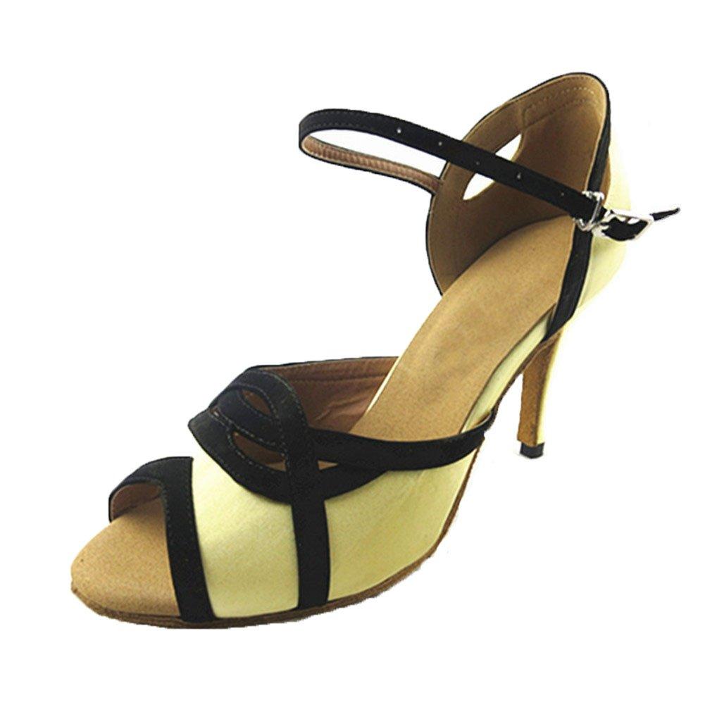QWERTYUIOP Frauen Gelb Schwarz Latein Tanzschuhe Leise Unten Satin High Heel Salsa Dancing Schuhe Tango Soziale Tanzschuhe