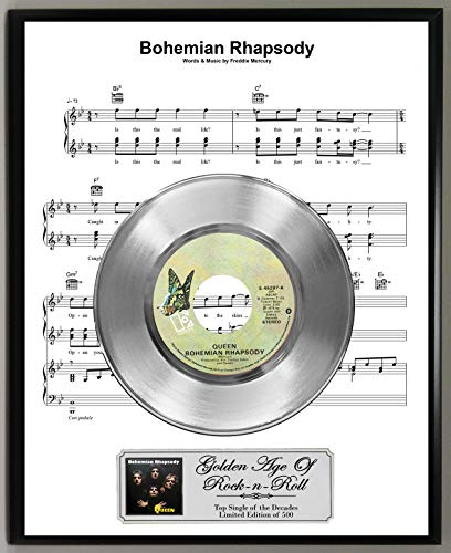Sheet Music Display - G.A.R.R. Queen Bohemian Rhapsody Limited Edition 45 RPM Platinum Record Sheet Music Poster Art Display with Original Reproduction Sleeve Art & Record Label