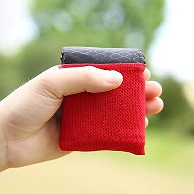 DEBRIS TIME temps de la saleté Pocket pique-nique Tapis en nylon Mini Couverture léger et portable pour voyage Camping Randonnée pique-nique activités de plein air (Noir)