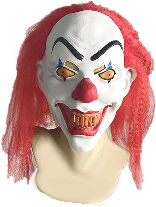 Horrgasd Máscara Geek Halloween con Pelo Rojo Clown, máscara Joker ...