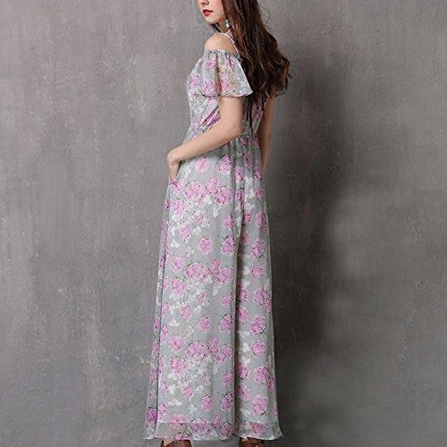 Retro Partykleid Violett Linie Maxi Kurzarm Damen DISSA Kleider LHA82080 Kleid A YSgwAq