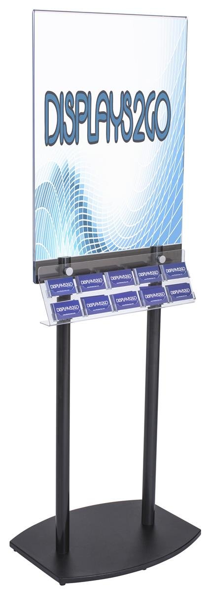 Displays2go BC10SCLPSB Floor Poster Holder with Business Card Rack, 22x28-Inch Sign Frame, 10-Pockets
