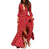 OWMEOT Women Summer Long Sleeve Cardigan Sexy Maxi Long Dresses (Red, S)