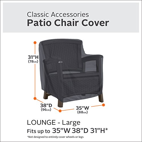 Classic Accessories 55-815-040401-00 Patio Lounge Chair Cover, Black, Large by Classic Accessories (Image #1)