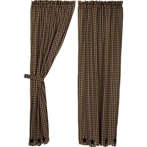 Black Star Scalloped Panel Set Curtains Rustic Khaki Appliqu
