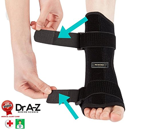 Dr A-Z Dorsal Night Splint Ankle Support Brace Plantar Fasciitis Feet Ankle Brace Arch Support Pain Relief Effective for Heel Arch Foot Pain, Achilles Tendonitis Bundle Free Medical Alert Card by Rewind With Nature