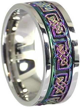 Stainless Steel Rainbow Celtic Knot Worry Spinner Stress Reliever Ring Size 6-15