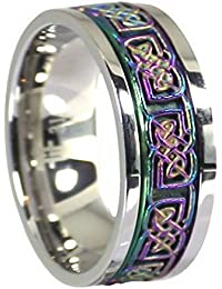 Rainbow Celtic Knot Stress Reliever Stainless Steel Spinner Ring Size 3-15