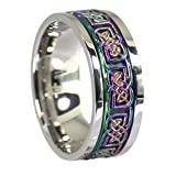 Fantasy Forge Jewelry Rainbow Celtic Knot Stress Reliever Stainless Steel Spinner Ring Size 9.5