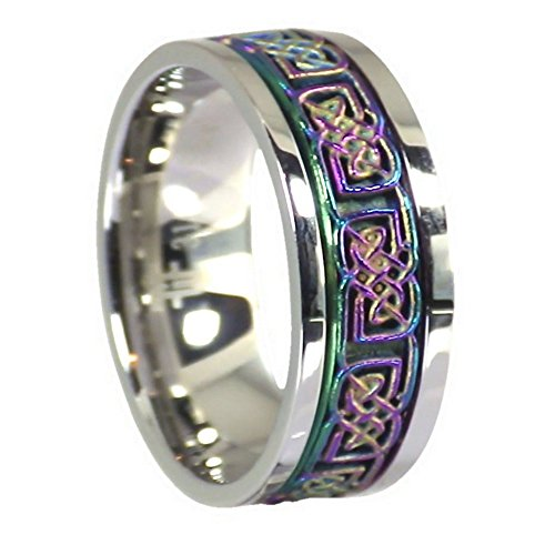 Fantasy Forge Jewelry Rainbow Celtic Spinner Ring Stainless Steel 8mm Comfort Fit Band Size 8.5