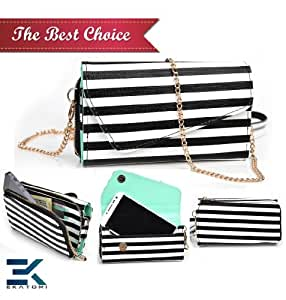 Universal Women's Wallet Wristlet Phone Clutch fits OPPO Find 5 Cover - STRIPES. Bonus Ekatomi Screen Cleaner