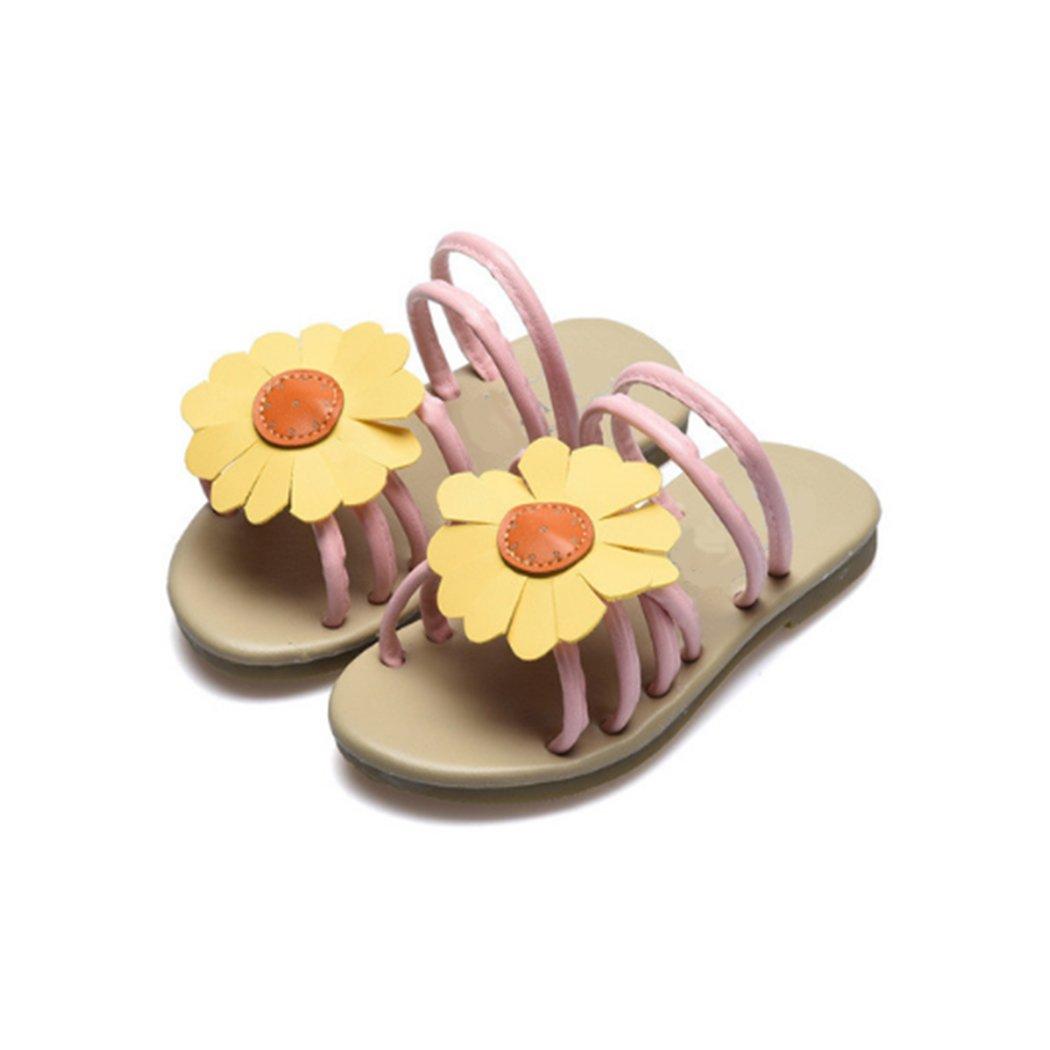 HANMAX Girls Sunflower Open Toe Sandals Soft Flat Summer Casual Non-Slip Beach Slipper