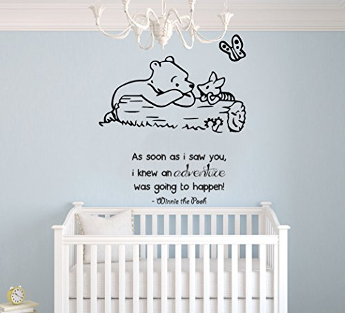 Winnie Pooh & Piglet Theme- Baby Room Wall Decal- Decal For Baby's Room- Quote Mural Decal (Wide 28