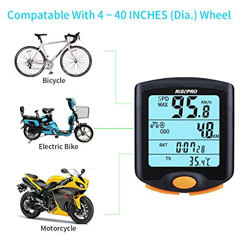 RISEPRO Bike Computer, Wireless Bicycle Speedometer Bike Odometer Cycling Multi Function Waterproof 4 Line Display with Backlight YT-813 by RISEPRO (Image #3)