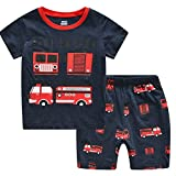 CNBABY Boys Summer Pajamas Fire Engine Toddler Kids 100% Cotton Set