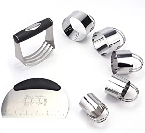 Tebery 7 Pack Stainless Steel Pastry Scraper, Dough Blender & Biscuit Cutter Set for Baking Pastry, Heavy Duty & Durable with Ergonomic Rubber Grip
