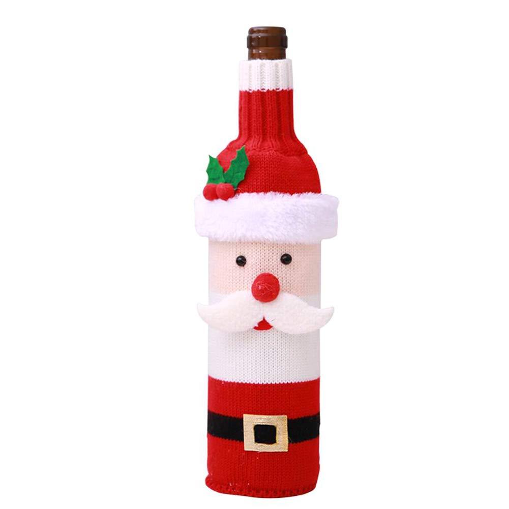 RENNICOCO Cubiertas de la Botella de Vino de la Navidad 1pcs y Kit de los Sombreros con el Sistema Hecho Punto del suéter
