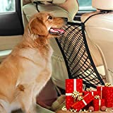 AUTOWN Car Dog Barrier & Auto Seat Net Organizer, Universal Stretchy Car Seat Storage Mesh & Mesh Cargo Net Hook Pouch Holder, Disturbing Stopper from Children and Pets as Car Backseat Barrier Net