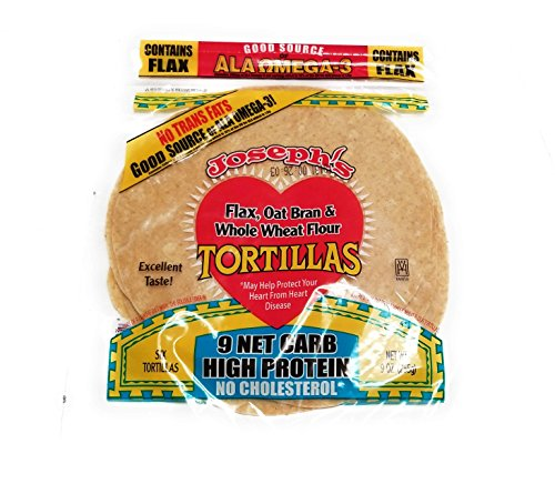 Joseph's Low Carb Tortilla, Flax, Oat Bran & Whole Wheat, 8 Inch, 6 ()