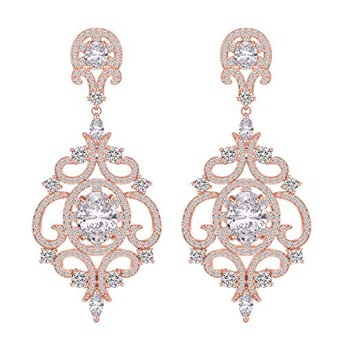 LILIE&WHITE Halo Cubic Zirconia Wedding Bridal & Prom Chandelier Earrings Hypoallergenic ()