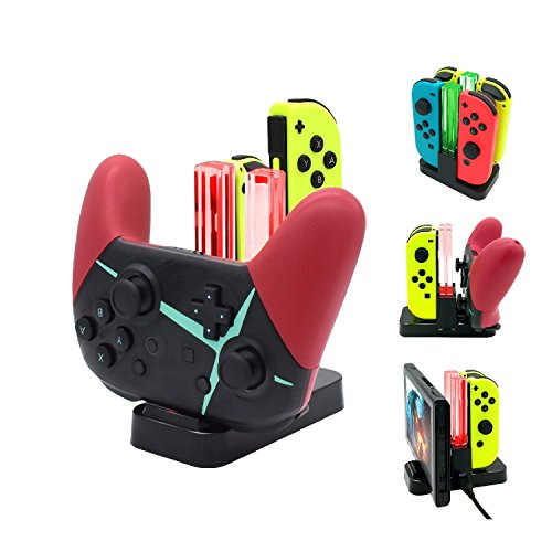 FastSnail Controller Charger for Nintendo Switch, Pro Controller and Joy-con Charging Dock for Nintendo Switch with Charging Indicator