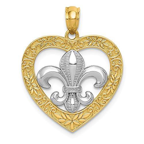 14k Yellow Gold Fleur De Lis Heart Pendant Charm Necklace Love Fine Jewelry Gifts For Women For Her
